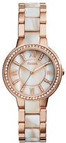 Fossil Virginia Two-Tone Horn and Glitz Stainless Steel Watch