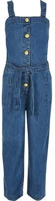 River Island Girls blue pinafore denim jumpsuit