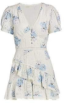 LoveShackFancy Women's Bea Seersucker Floral Eyelet Mini Dress - Size 0