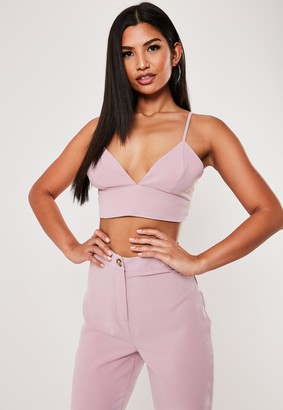 Missguided Lilac Co Ord Strappy Plunge Bralet