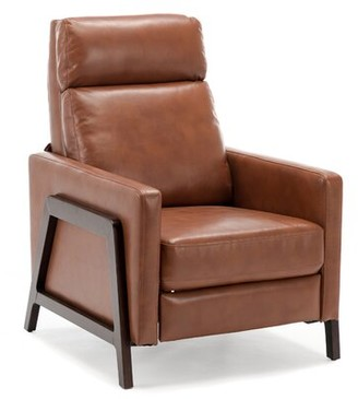 Maxille Faux Leather Manual Recliner AllModern Fabric: Caramel Faux Leather