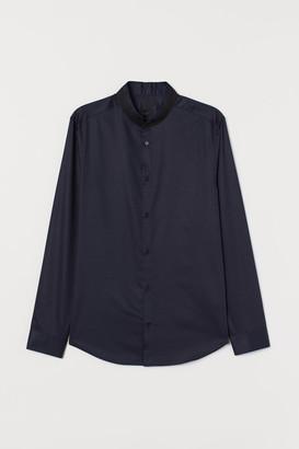 H&M Slim Fit Cotton Henley Shirt - Blue