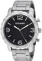 Steve Madden Men's Quartz Stainless Steel Dress Watch, Color:Black (Model: SMW095-BK)