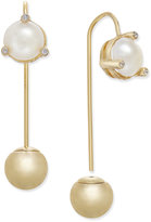 Kate Spade Gold-Tone Bead & Imitation Pearl Hanger Earrings