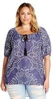 Single Dress Women's Plus Size Printed Peasant Top