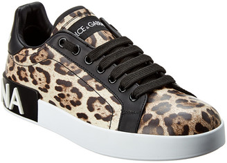 Dolce & Gabbana Portofino Leopard Print Leather Sneaker
