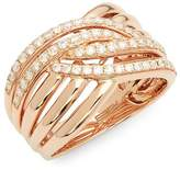 Effy Women's Diamond and 14K Rose Gold Midi Ring