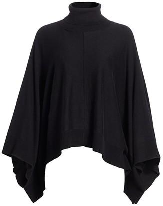 Joan Vass Petite Knit Turtleneck Poncho Sweater