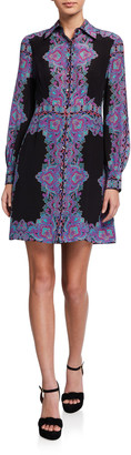Nanette Lepore Scarf Printed Long-Sleeve Silk Shirtdress