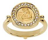 Temple St. Clair 18K Yellow Gold Angel Ring with Pave Diamonds