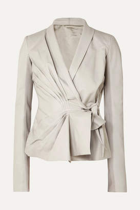 Rick Owens Pleated Leather Wrap Jacket - Off-white