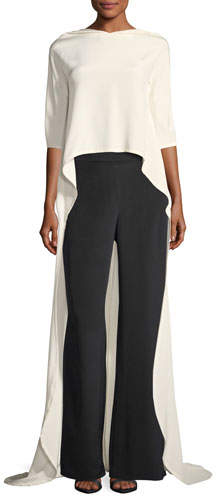 Carolina Herrera High-Low Cape Top