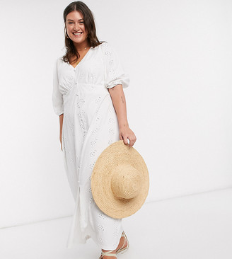 ASOS DESIGN Curve broderie tea maxi dress with puff sleeve in white