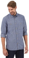Mantaray Big And Tall Blue Long Sleeved Button Down Shirt
