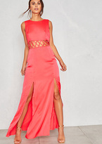 Missy Empire Nicola Pink Cut Out Split Leg Maxi Dress
