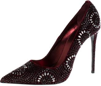 Le Silla Burgundy Crystal Embellished Velvet Pointed Toe Pumps Size 41