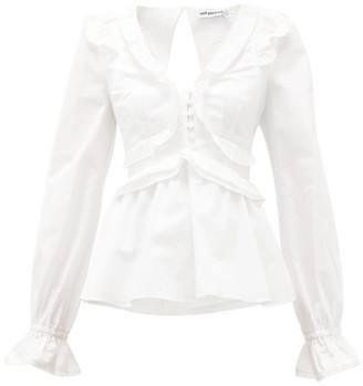 Self-Portrait Ruffled V-neck Tie-back Cotton Blouse - Womens - White