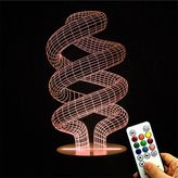 Deerbird 3D Optical Illusion Spiral DNA Keys Remote Control 7 Color Change Touch LED White Base Desk Lamp Night Light for Home Decor Mother Day Gifts