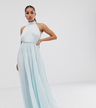 Asos DESIGN Petite Exclusive Halter Waisted Pleated Maxi Dress-Blue
