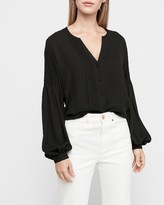 Express Pleated Balloon Sleeve Portofino Shirt