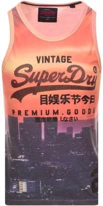 Superdry Premium Goods Logo Vest T Shirt Orange