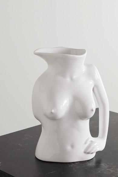 Anissa Kermiche Jugs Jug Ceramic Vase - White