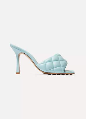 Bottega Veneta Quilted Padded Leather Mules - Sky blue