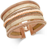 INC International Concepts Rose Gold-Tone Wide Faux Leather Beaded Bracelet, Only at Macy's