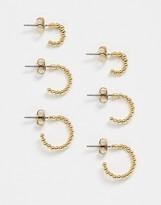 Pieces multi pack huggie earrings in gold