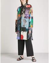 Yohji Yamamoto Patchwork-print oversized woven shirt