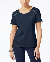 Karen Scott Cotton Embellished T-Shirt, Created for Macy's