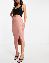 Thumbnail for your product : Monki Loa ribbed midi skirt in pink
