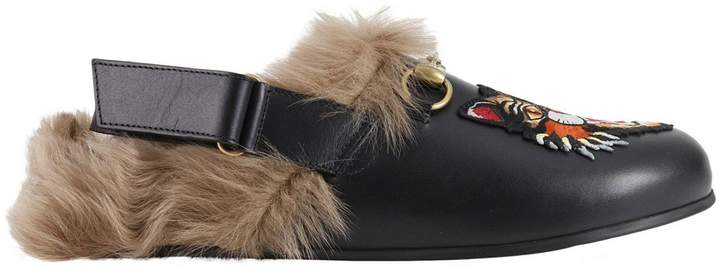 Gucci Shoes Slipper River In Smooth Calfskin And Fur With Classic Horsebit And Angry Cat Patch