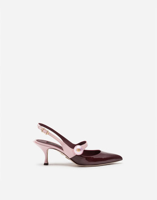 Dolce & Gabbana Patent Leather Two-Tone Slingbacks With Pearl Detail
