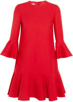Valentino Ruffle-trimmed Wool And Silk-blend Mini Dress - Red