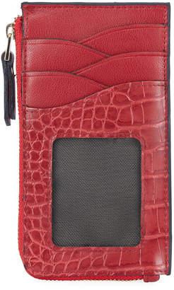 Neiman Marcus Croc-Embossed Slim Zip Wallet