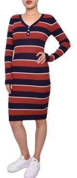 Planet Gold Juniors' Striped Henley Dress
