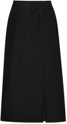 Gucci Cotton viscose faille skirt with slit