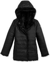 GUESS Reversible Hooded Faux-Fur Coat, Big Girls (7-16)