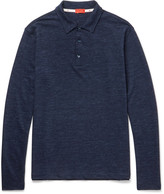 Isaia - Mélange Wool And Cotton-blend Polo Shirt