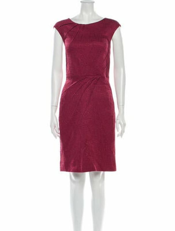 Oscar de la Renta Bateau Neckline Knee-Length Dress