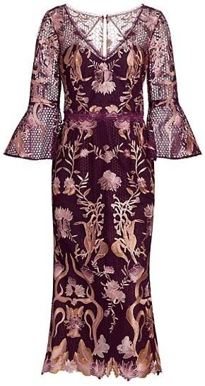 Marchesa Notte Flutter-Sleeve V-Neck Embroidered Guipure Lace Dress