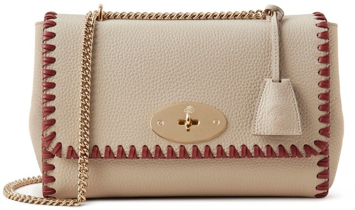 Mulberry Medium Top Handle Lily Chalk Heavy Grain With Braided Edge