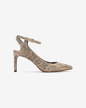 Express Snakeskin Textured Open Back Pointed Toe Pump