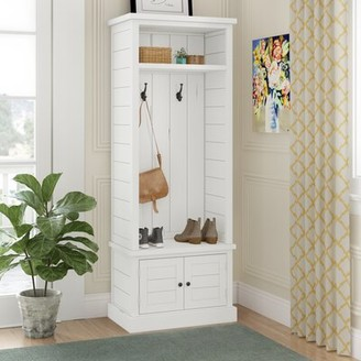 Three Posts Seadrift Craft Acacia Solid Wood Hall Tree with Bench and Shoe Storage Color: Weathered White