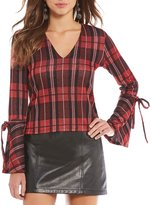 Gianni Bini Coco Plaid Tie Sleeve Sweater