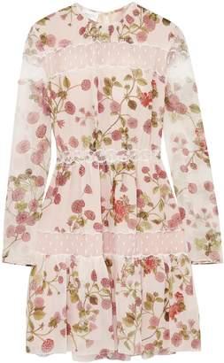 Giambattista Valli Point D'esprit-paneled Floral-print Silk-georgette Mini Dress