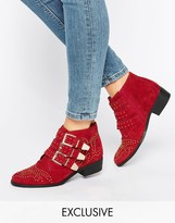 Red Suede Boots Low Heel