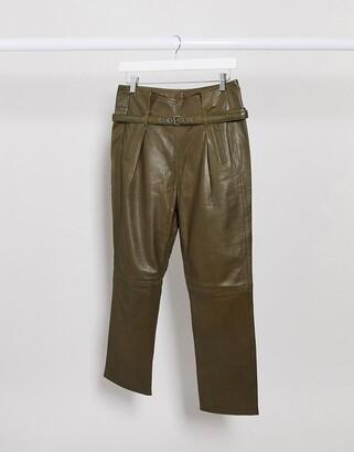 Muu Baa Muubaa islay paper bag leather pants in green