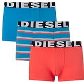 Diesel Shawn Stripe Plain Trunks, Pack Of 3, Blue/red